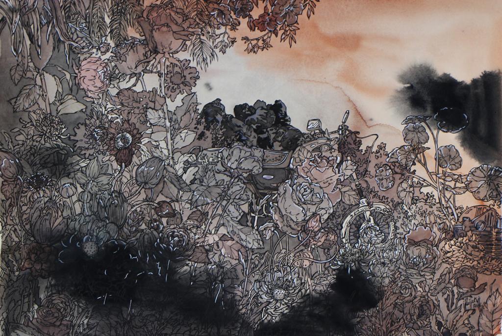 Isabella Kuijers Overgrown II (Fukushima), 2016 Mixed media on paper 30 x 54 cm
